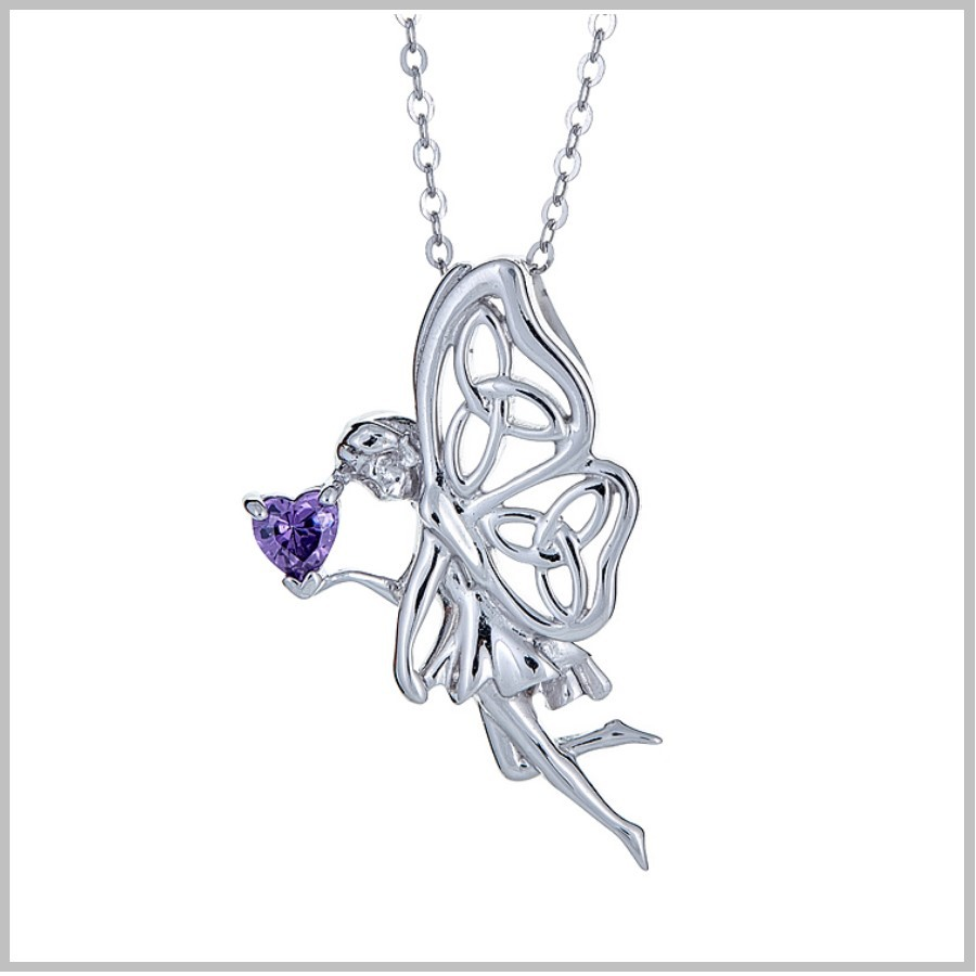 Silver Fairy and Celtic Shamrock Crystal Pendant Necklace Celtic Jewellery Boxed