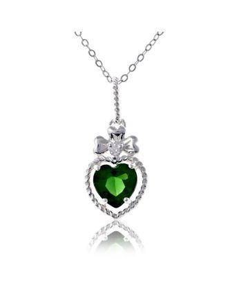 Shamock Emerald Heart Pendant