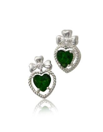 Shamock Emerald Heart earrings