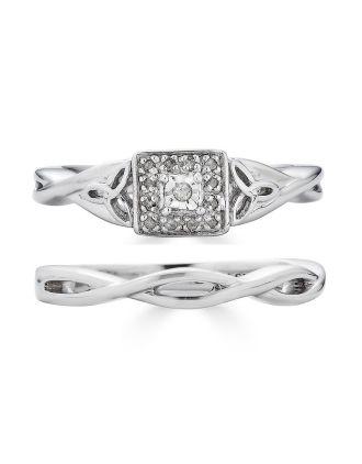Diamond Celtic Knot Engagement Ring Set