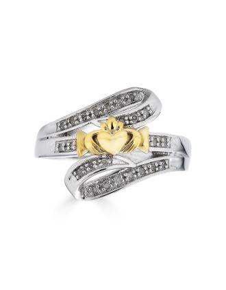 Claddagh Diamond Bypass Ring