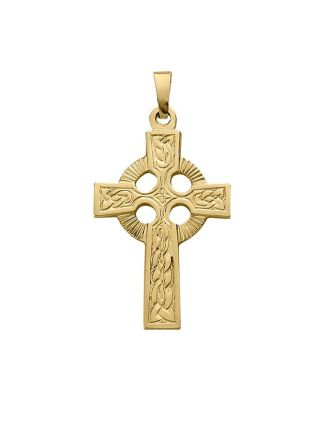 Engraved 14K Yellow Gold Celtic Cross   14K Yellow Gold Celtic Cross   Gold Celtic Cross