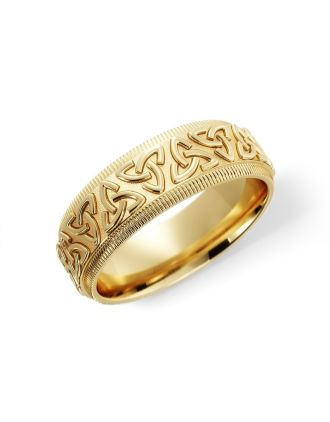 10K Gold Embossed Trinity Knot Ring