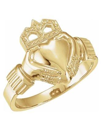 Gold Mens Claddagh Ring 10K Yellow 15x11 mm