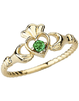 10k Gold Emerald Claddagh Promise Ring | Gold Emerald Claddagh Ring