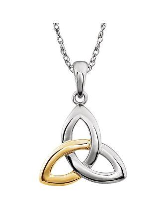 14k 2toned goldtrinity knot pendant