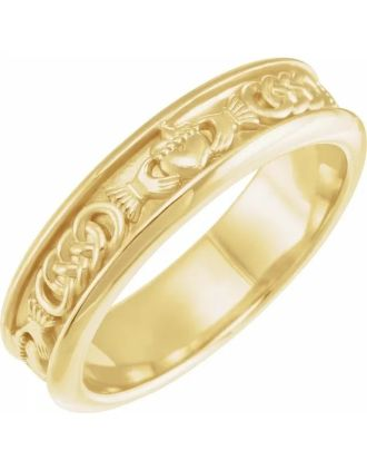 Celtic Claddagh Wedding Ring 10k Yellow Gold