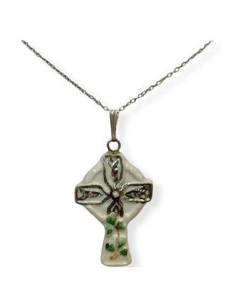 Porcelain Celtic Cross with Shamrocks Pendant