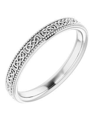 Celtic Knot Platinum Wedding Ring Milgrain