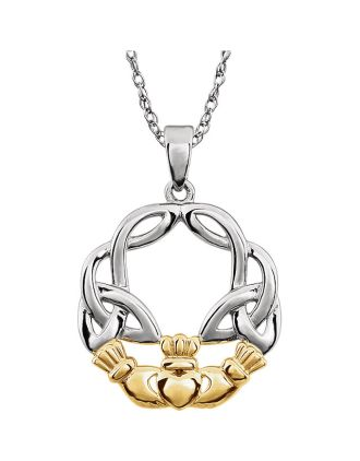 14K Two-Tone Claddagh Knot Pendant