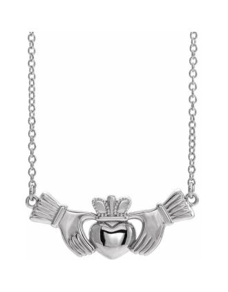 14K white Gold Claddagh Necklace   Claddagh Necklace