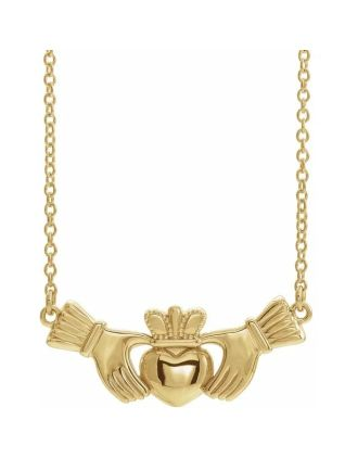 14K Yellow Gold Claddagh Necklace   Claddagh Necklace