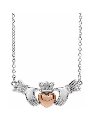 14K White & Rose Gold Claddagh Necklace