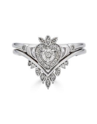 Stacking Boho Diamond Claddagh Ring Set