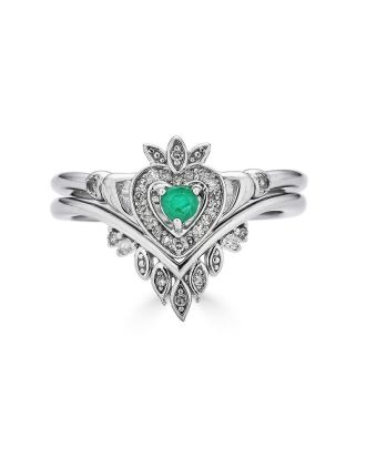 Stacking Boho Diamond Emerald Claddagh Ring Set