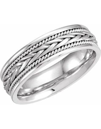 Woven Celtic Wedding Ring 14K White Gold