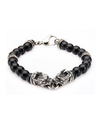 Stainless Steel Dragon Celtic Black Onyx Beads Bracelet