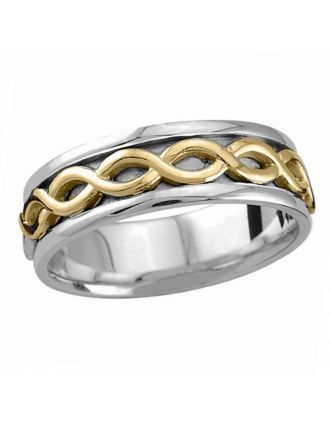 Oxidized Celtic Knot Ring Silver 10K Gold   Oxidized Celtic Knot Wedding Ring