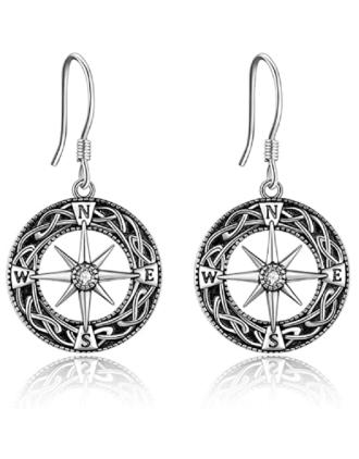Celtic Compass  Amulet Earrings | Compass Earrings