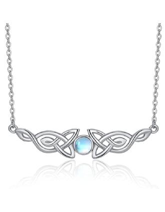 Celtic Knot Moonstone Necklace | June's Birthstone | Moonstone
