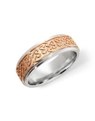 Celtic Lovers Knot Ring Silver & 10k Rose Gold