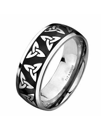 Celtic Trinity Knot Black Titanium Ring