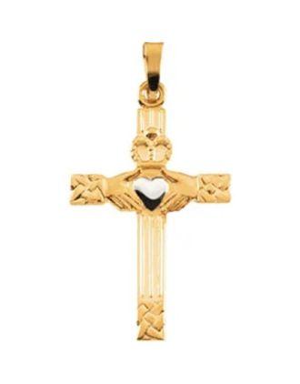 Claddagh Cross Pendant with Rhodium Heart 14K Gold