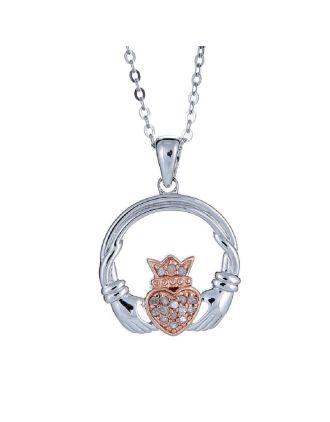Diamond Claddagh Rose Gold Plated Pendant