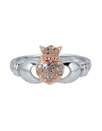 Diamond Claddagh Pink Heart Ring