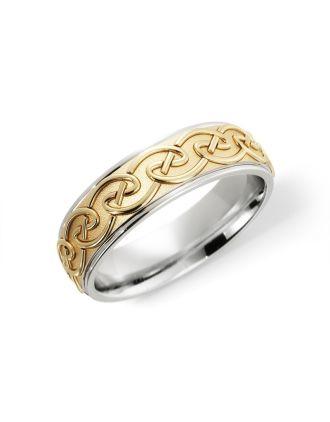 Comfort Fit Silver & 10K Gold Celtic Knot Ring | Celtic Knot Wedding Ring