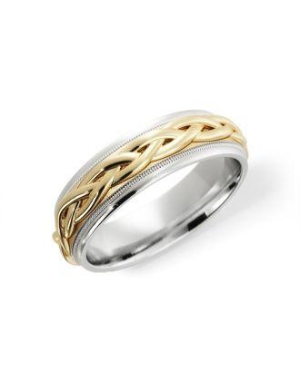 Comfort Fit Celtic Ring Silver & 10K Gold | Celtic Wedding Ring