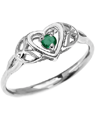 Emerald Trinity Knot 10k White Gold Ring | Trinity Knot Promise Ring