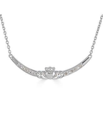 Claddagh Diamond Bar Necklace