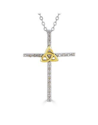 Diamond Trinity Knot Cross Pendant