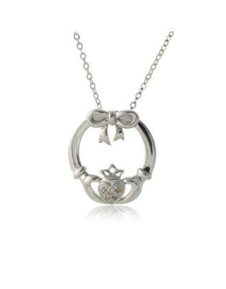 Diamond Claddagh Bow Pendant