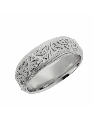Embossed Trinity Knot Ring Sterling Silver