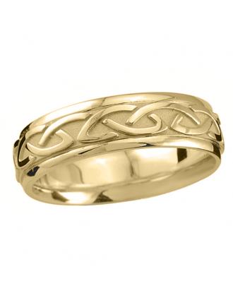 Embossed Celtic Knot Wedding Ring 10K Gold