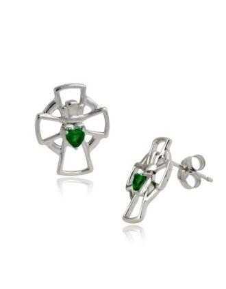 Emerald Claddagh Cross Earrings