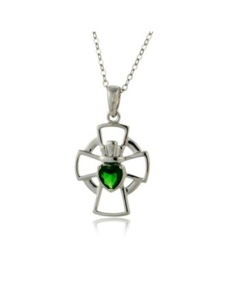 Emerald Claddagh Cross necklace