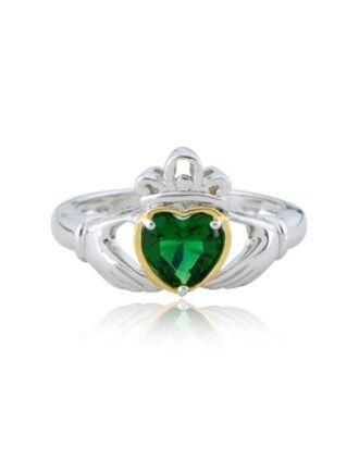Emerald Claddagh Heart Ring