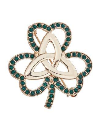 Emerald Green Shamrock Brooch