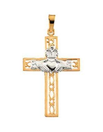 Filigree Claddagh Cross Pendant 14K Gold