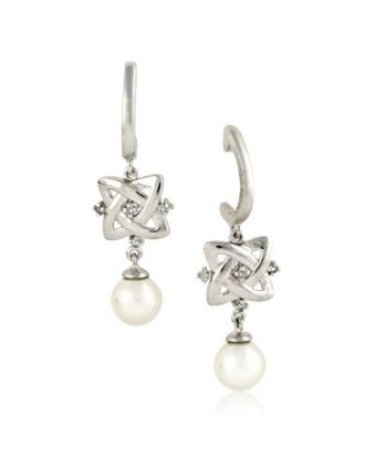 Celtic Knot Diamond and Pearl Earrings