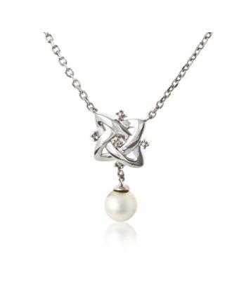Celtic Knot Diamond pearl Necklace