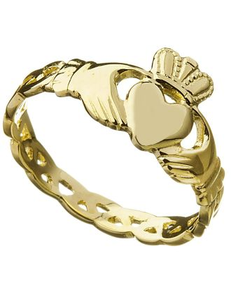 Ladies 10K Gold Claddagh Celtic Knot Ring