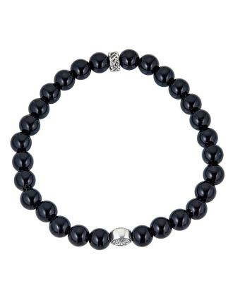Men's Claddagh Onyx Beaded Bracelet