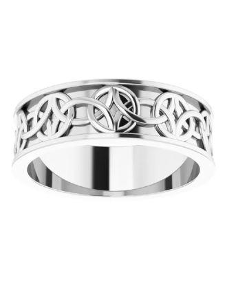 Celtic-Inspired Mens Platinum Wedding Band | Mens Platinum Wedding Band