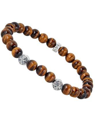 Men's Celtic Cross Tigers Eye Bracelet