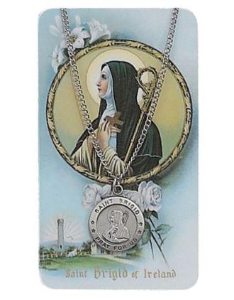 Saint Brigid Pewter Medal Prayer Card