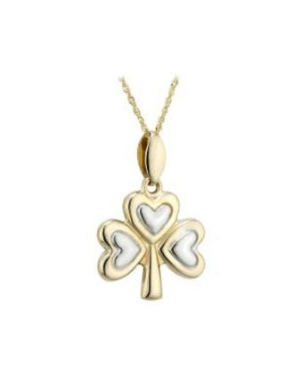 Gold Shamrock Necklace   Two Toned Gold Shamrock Pendant   Solvar
